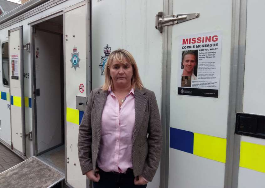 Corrie McKeague's mum Nicola Urquhart outside the police pod which is showing Christmas Fayre goers CCTV clips of the 20 untraced people from the area he was last seen in two months ago ANL-161124-110631001