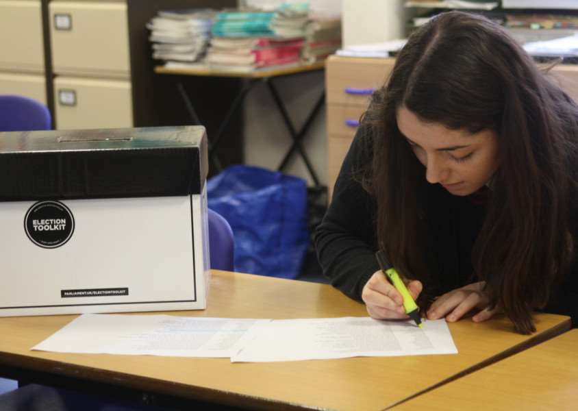 Pupils at Mildenhall College Academy staged their own mock election. ANL-150513-100149001