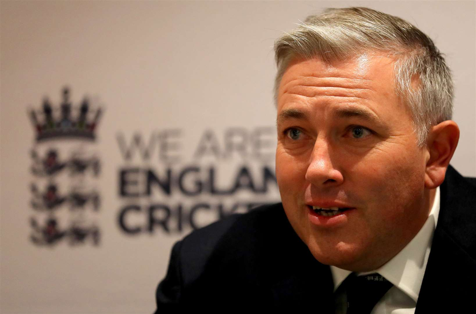 LONDON, ENGLAND - OCTOBER 10: England Head Coach Chris Silverwood speaks to the media during the England Head Coach Chris Silverwood Press Conference at Lord's Cricket Ground on October 10, 2019 in London, England. (Photo by James Chance/Getty Images). (26173013)
