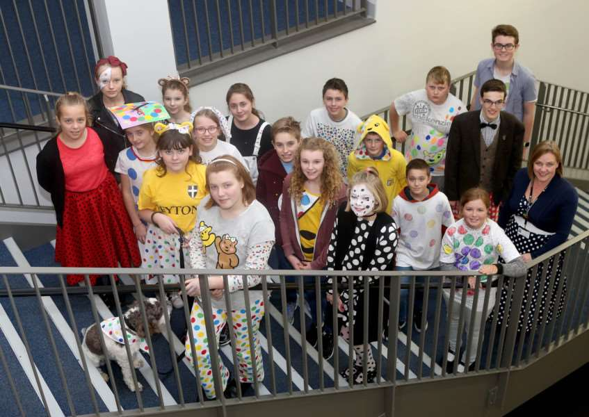 Pupils from Thomas Gainsborough School in Great Cornard enjoy dressing up for Children in Need ANL-161118-170001009