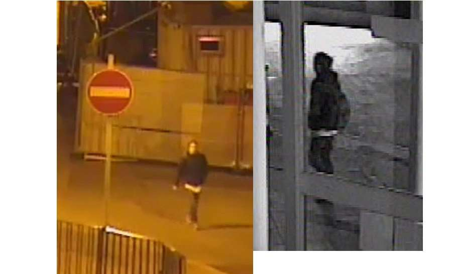 The man in a black hoody the police still need to trace. In the picture on the right he was passing Cornhill Walk at 5.18am on September 24