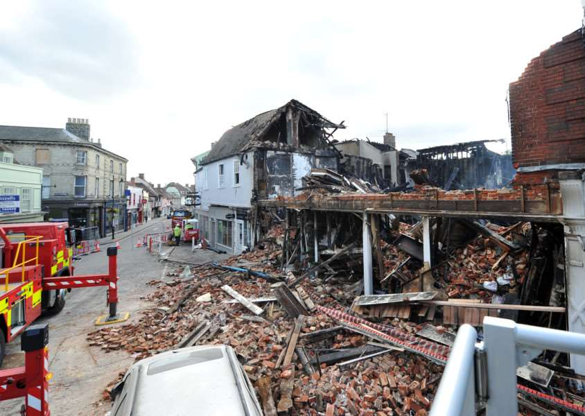 DEVASTATION: The ruin left by the fire in Market Hill, Sudbury.