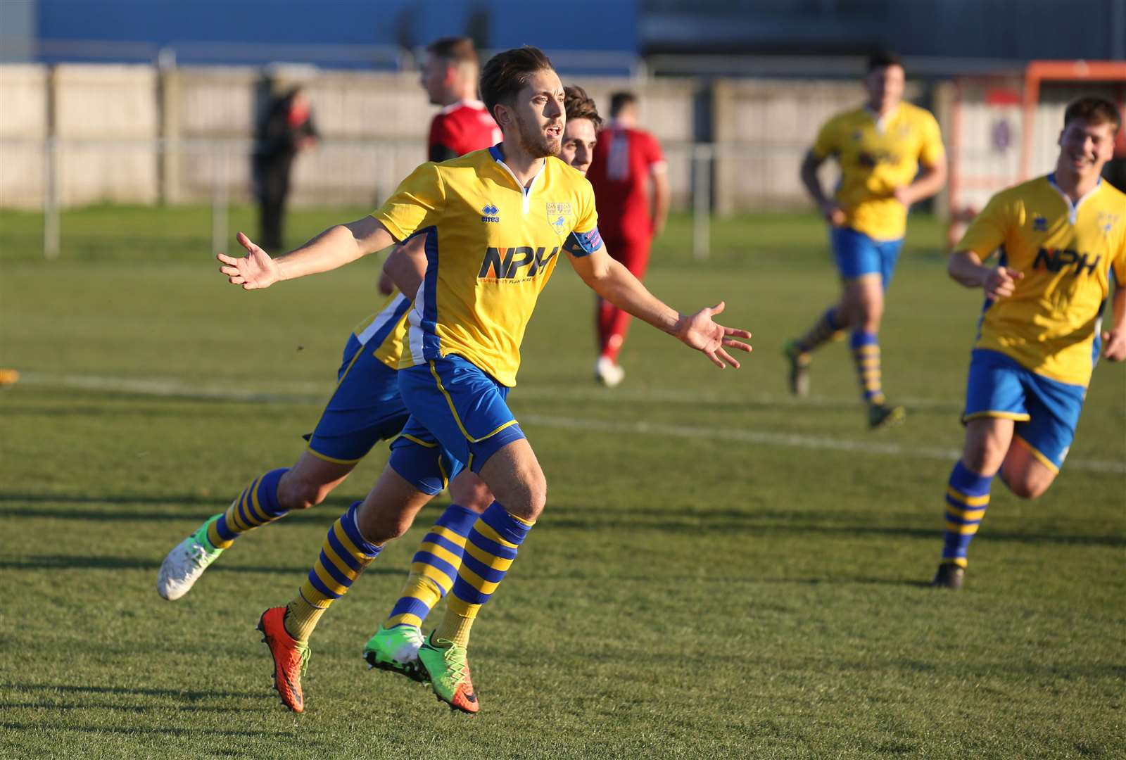 Haverhill Rovers v Newmarket Town - Newmarkets Jack Watson celebrates their second goal..Pic - Richard Marsham. (5187125)