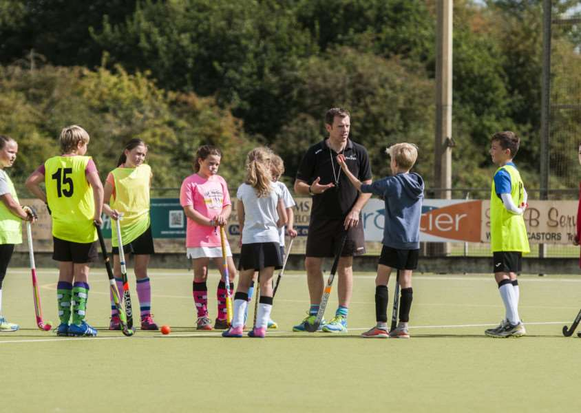 GREAT DAY: Under-12s receive advice at Harleston Magpies' Hockey Fest