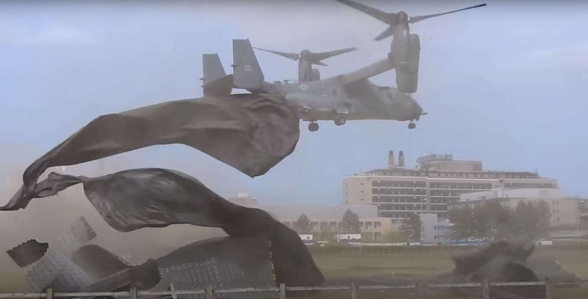 The Cambridge University Hospitals helipad is blown apart by the USAF Boeing/Bell CV-22B Osprey on April 21, 2021. Screen grab from Trailspotter video at https://www.youtube.com/watch?v=ObfdLy-QlsU