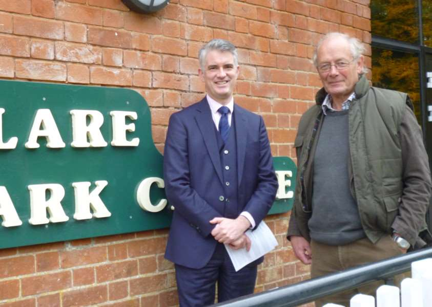 South Suffolk MP James Cartlidge with Geoffrey Bray at Clare Castle Country Park ANL-151027-091657001