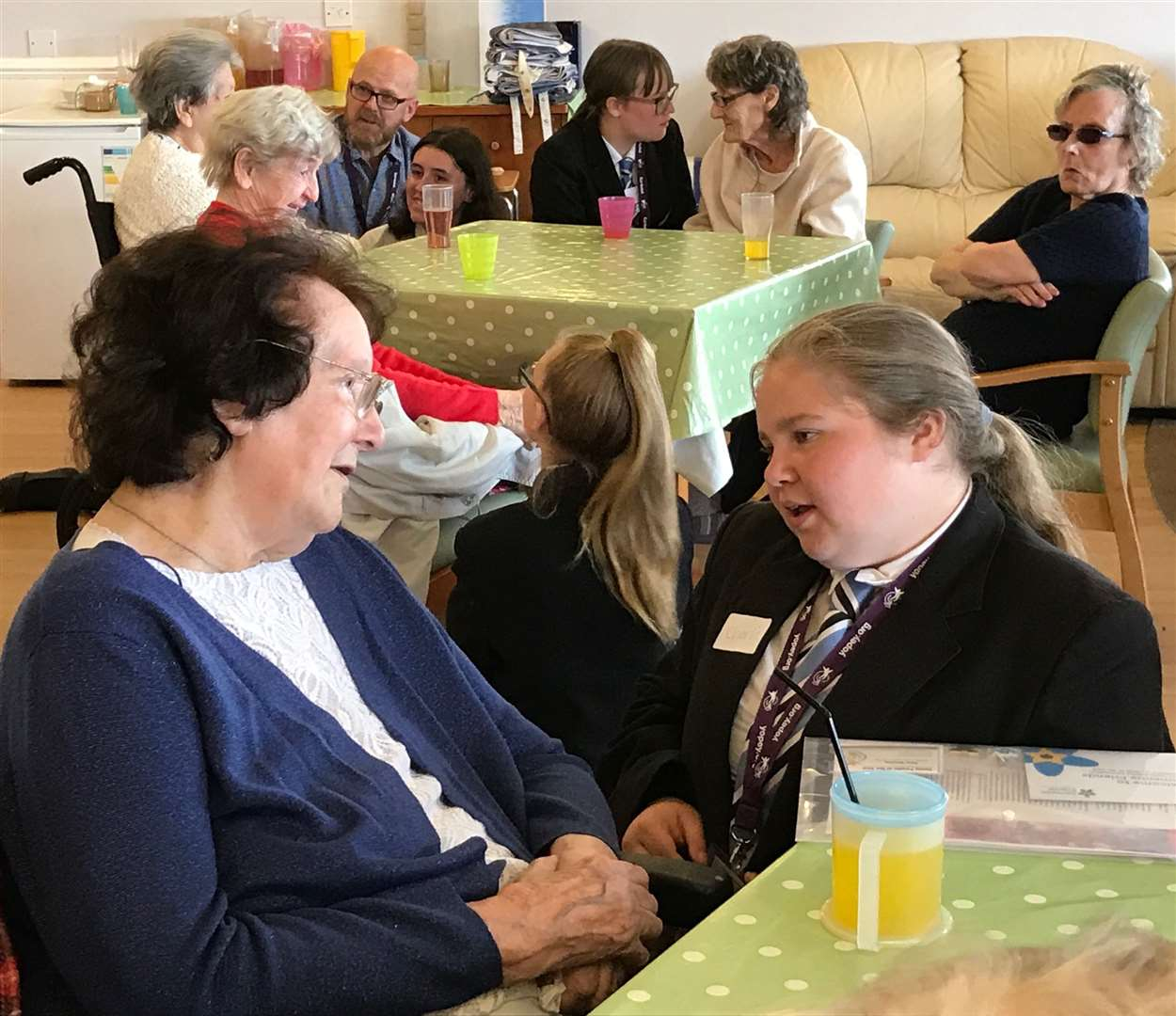 Castle Manor Academy students chat to residents at the Meadows care home as part of their YOPEY Befriender roles