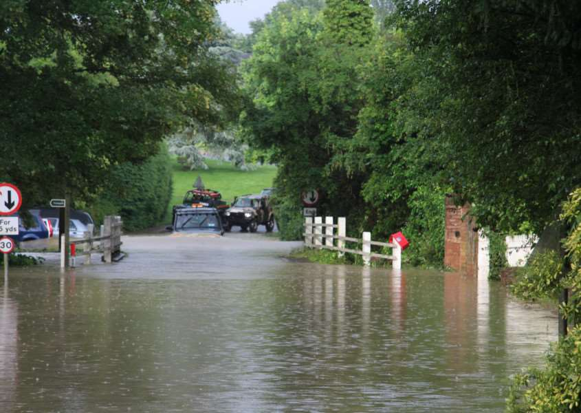 Flooding at the road bridge in Church Street, Withersfield on Saturday