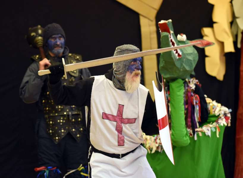 The Northwold Mummers join pupils from The Norman school for Ploughday Monday ANL-161101-182755009