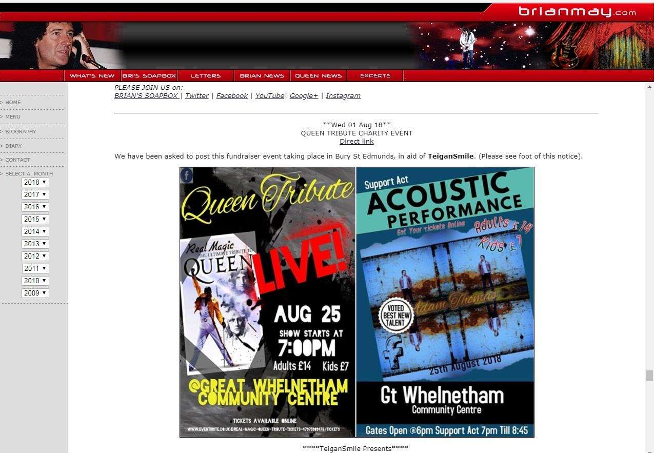 Teigan Bayliss' Queen tribute concert publicised on Brian May's website (3481876)