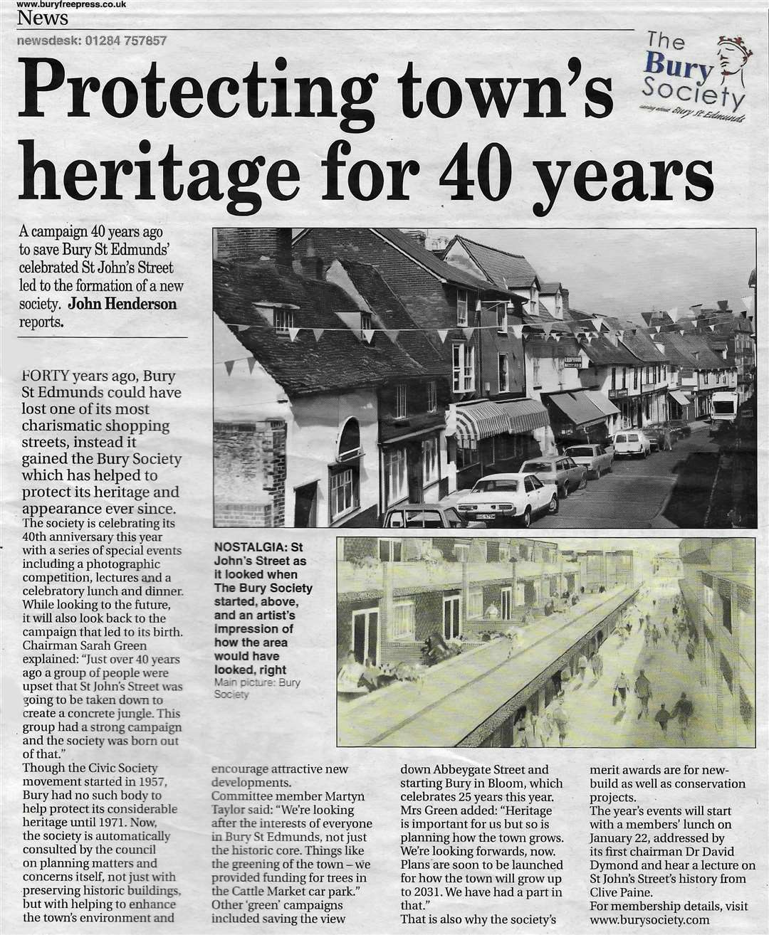 The Bury Free Press article on the 40th anniversary of the Bury Society