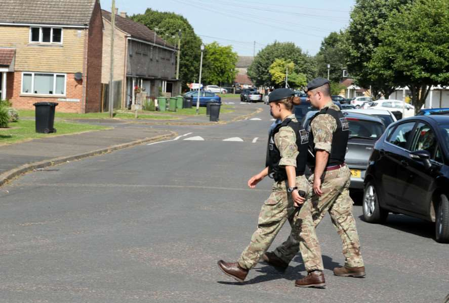 Military police patrol close to RAF Marham in Norfolk, after the attack. ''Picture: Chris Radburn/PA Wire EMN-160721-132136001
