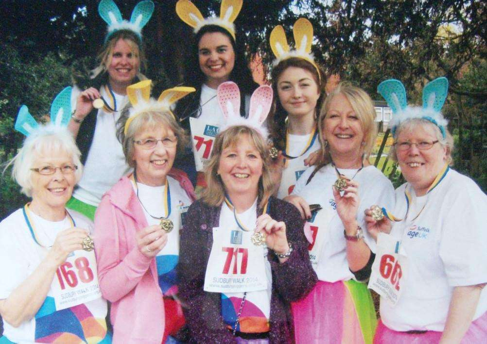 The team from Age UK Suffolk who took part in the Sudbury fun run on Good Friday. ANL-150204-124621001