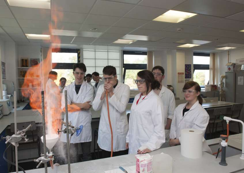 STEM events at West Suffolk College free science week for students over half term.'Elspeth Snaith Stour Valley, Ciaran Williams WSC, Neace Parish WSC, Henry Stedman KEGS and Katherine Linnett WSC'Picture Mark Westley ANL-151026-164348009