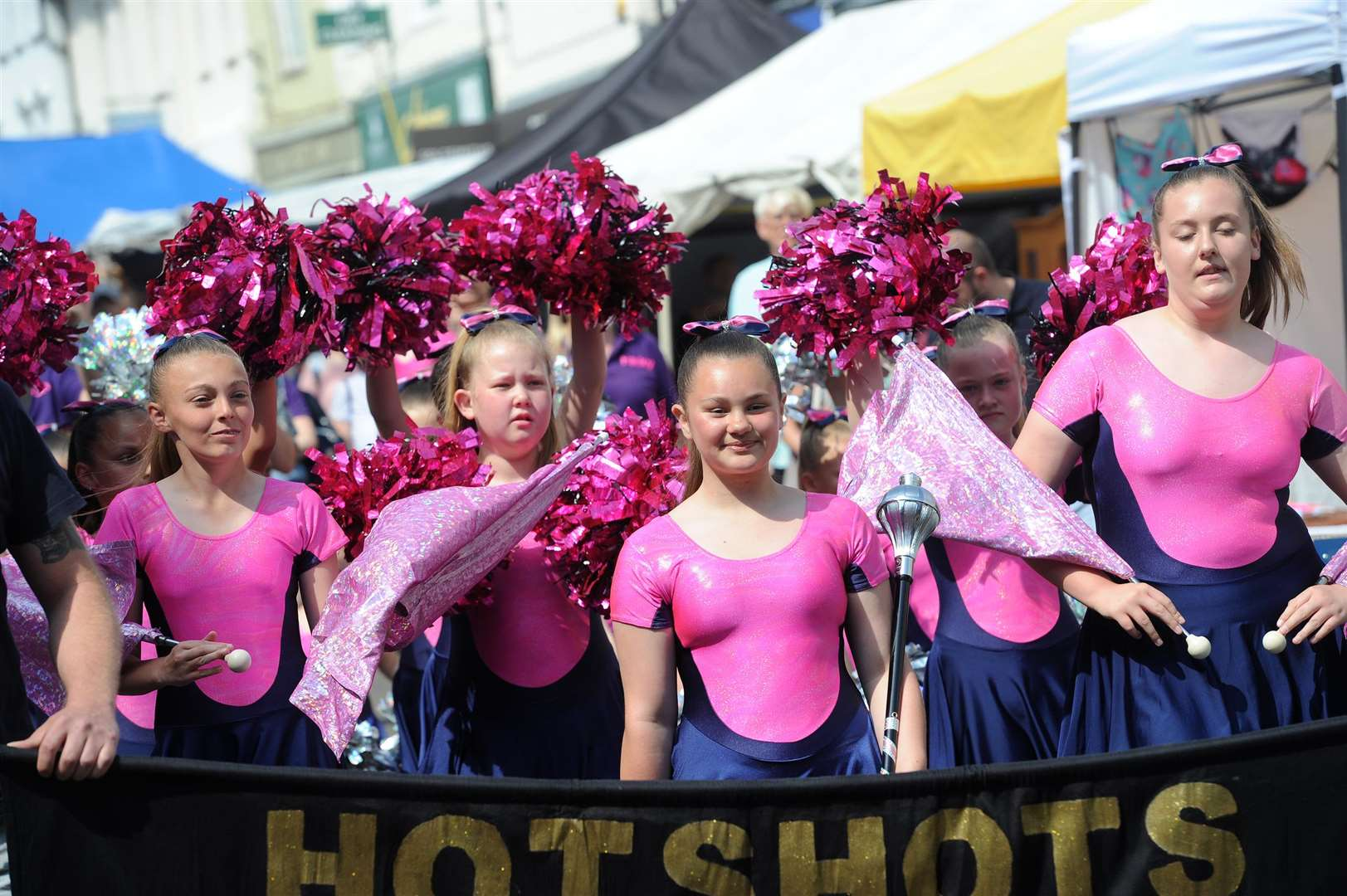 The Hotshots majorettes entertained once the parade reached the Abbey Gardens
