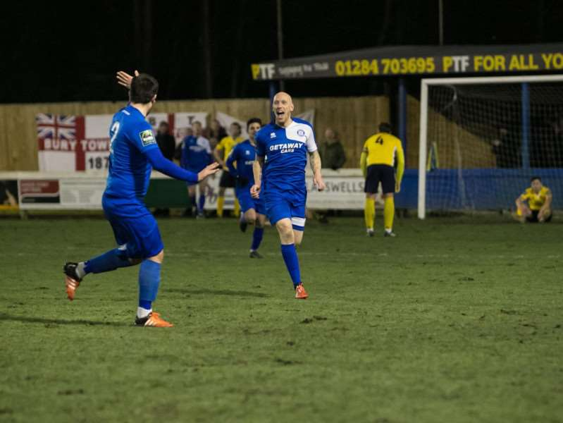 CONTRIBUTING: Darren Mills scored 11 times for Bury Town this season,'including his final goal for the club in their 1-0 home win over Witham Town on Tuesday, February 6 (Picture: Paul Tebbutt)