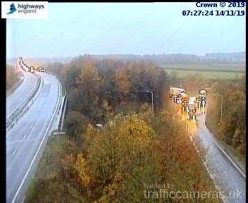 A14 junction 42 at 7.27.04. Picture: https://trafficcameras.uk/a14/