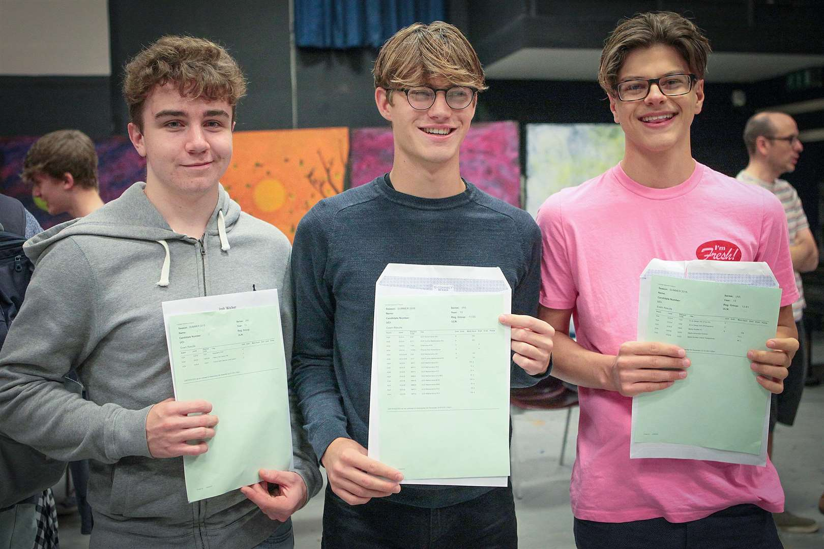 Samuel Ward Academy students, from left; Josh Walker, Tom Hudson and Matt Sheppard-Wood looking happy on their results day (3632749)