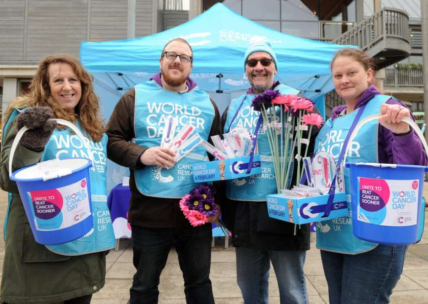 Relay for Life organisers with their stall outside the Apex''Pictured: Pamela Darkins, Matthew Darkins, David Cianciola and Alisha Darkins'''PICTURE: Mecha Morton