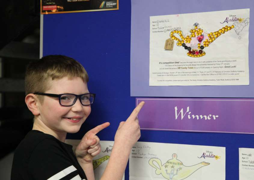 Charlie Hill from Tudor Primary School won the Ormiston Sudbury Academy Aladdin competition where pupils at local primary schools had to decorate a magic lamp.