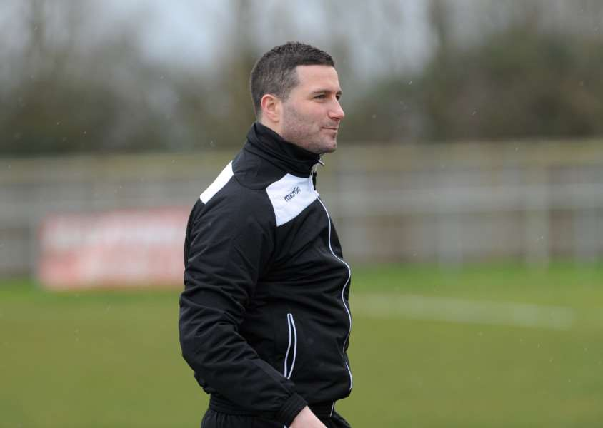 Tom Donati taking charge of Haverhill Rovers during their match with Thetford Town on February 20.