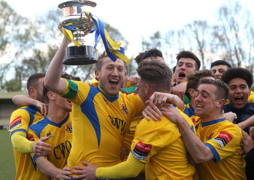 AFC Sudbury players celebrate winning the Ryman Division One North league.'Pic - Richard Marsham ANL-160423-205803009