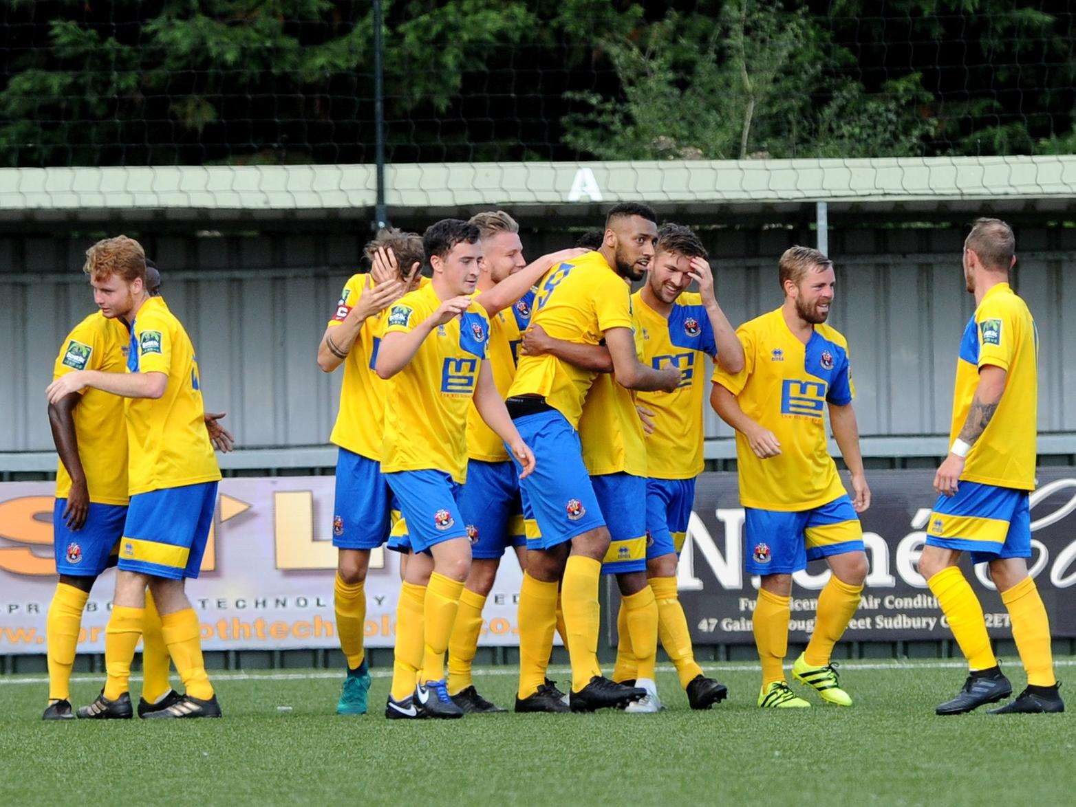 AFC Sudbury v Mildenhall Town - the Sudbury players celebrate Jake Turner's opening goal in the 1-1 FA Cup draw Picture: Mecha Morton