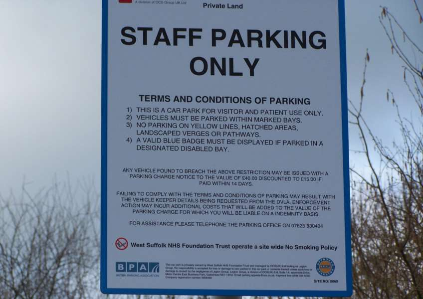 The car park sign at West Suffolk Hospital. Picture submitted.