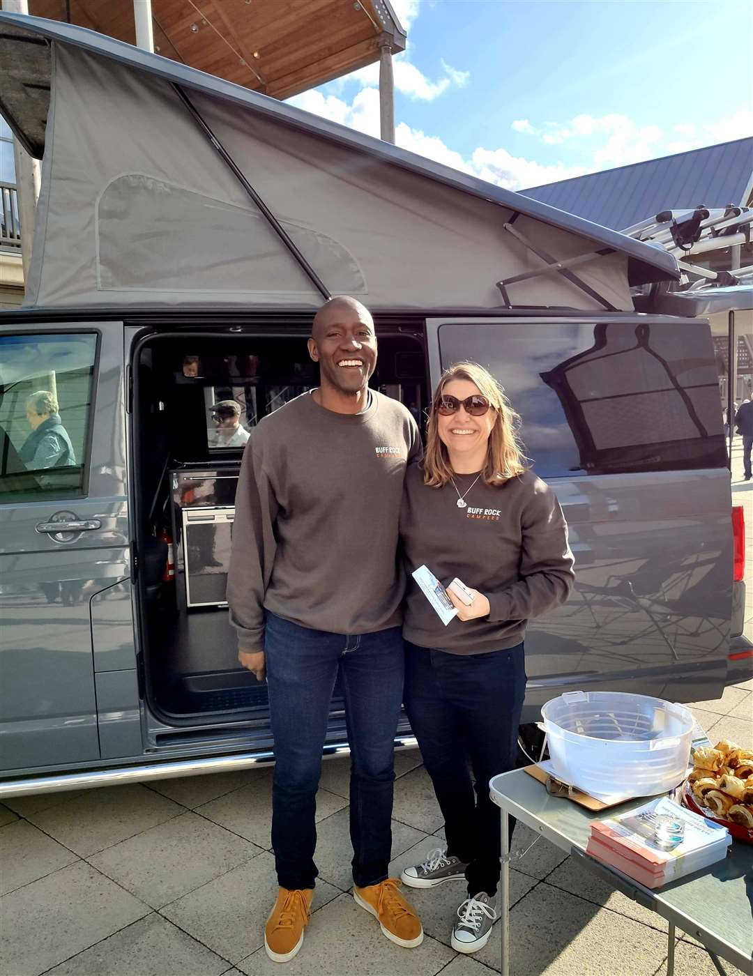 Amos and Caroline Owen with the camper van in the arc shopping centre in Bury St Edmunds