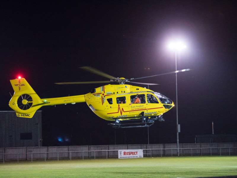 EMERGENCY: The East Anglian Air Ambulance taking off with the man who fell ill, bound for Norwich (Picture: Mark Westley)