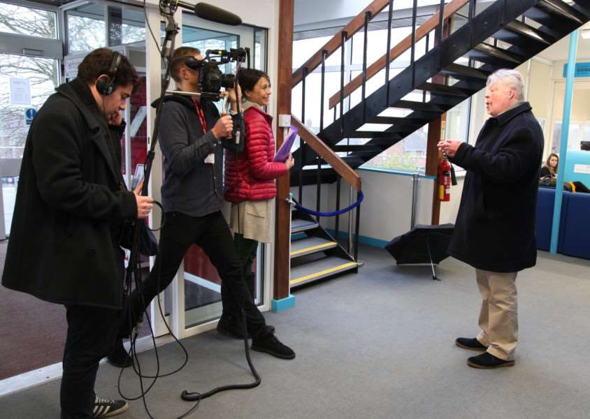 Falklands War veteran Simon Weston (right) visited Ormiston Sudbury Academy as part of filming for a BBC television programme on the Imperial War Museum.