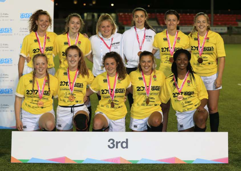 CHAMPIONS: England South East - featuring Connie Powell - won bronze medals in the rugby sevens at the School Games