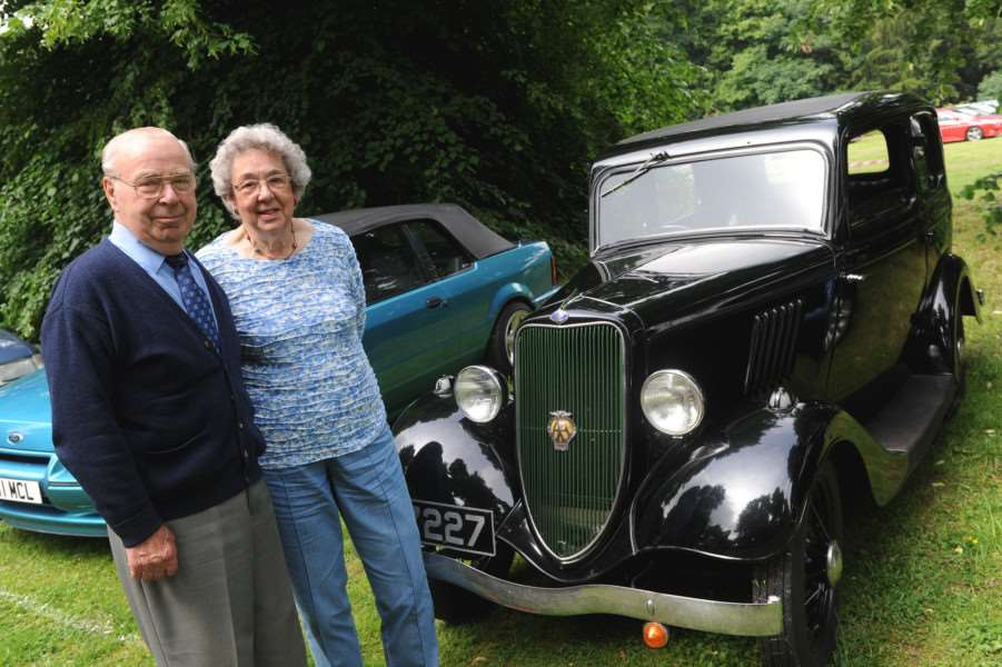 Cars on the Green''Pictured: Clifford and Wendy Hall with their 1934 Ford 8 Model Y that has been in the family since 1945 ANL-160620-093432009