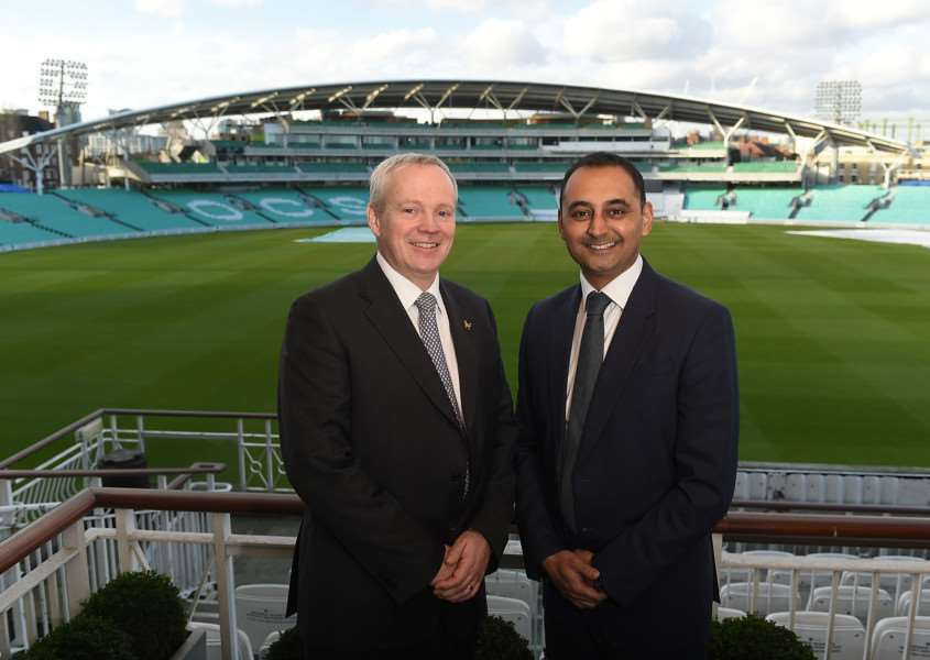 Chris Houlton, Managing Director Greene King Brewing and Brands (L) and Sanjay Patel, ECB Commercial Director (R) at The Kia Oval to mark Greene King's new partnership with ECB ANL-160128-162942001