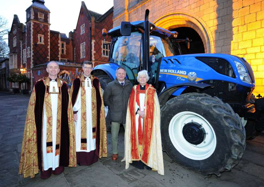 Plough Sunday service at St Edmundsbury Cathedral: Canon Matthew Vernon, The Rev Canon Philip Banks, Andrew Blenkiron (estate director of the Euston Estate) and The Rev Canon Sally Fogden, agricultural chaplain PICTURE: Mecha Morton