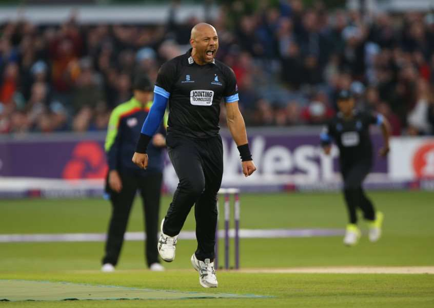 MAKING WAVES: Tymal Mills celebrates taking a wicket for Sussex in last year's Twenty/Blast. PICTURE: Sussex Cricket
