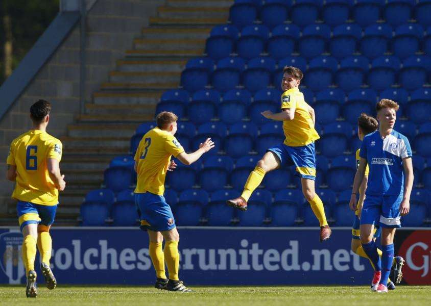 AT THE DOUBLE: Tom Maycock jumps for joy after scoring one of two goals. Picture: Phil Chaplin