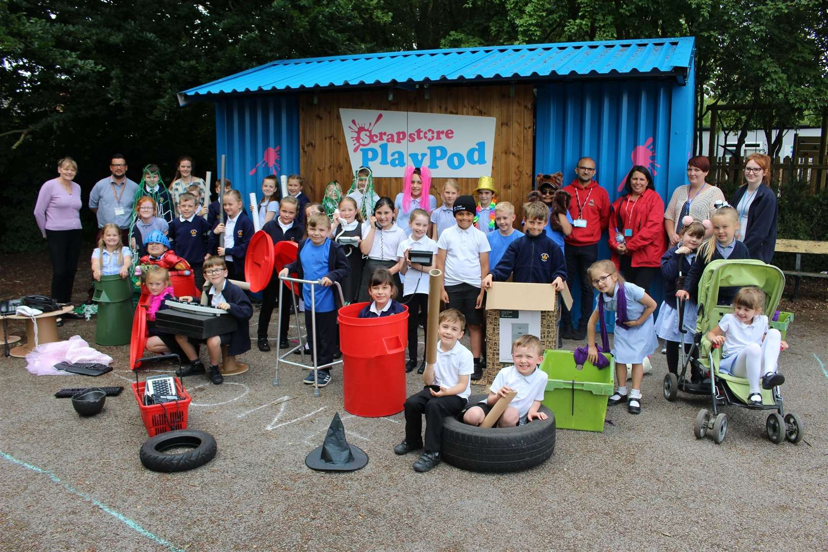 The Scrapstore PlayPod in use at Coupals Primary Academy. Picture by Gooderham PR