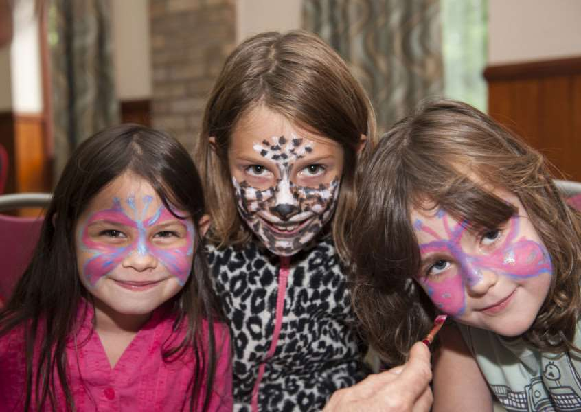 Glemsford village hall play day'Amber Clements, Bonnie Moore and Daisy Cruikshank with painted faces'Picture Mark Westley ANL-150818-182044009