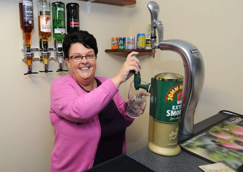 Chilton Meadows receptionist, Mary Trainor, at one of the pumps