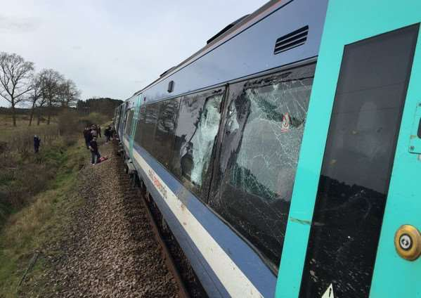 The scene of the crash at Roudham between a train and a tractor. Photo courtesy of Alex Youngs ANL-161004-145152001