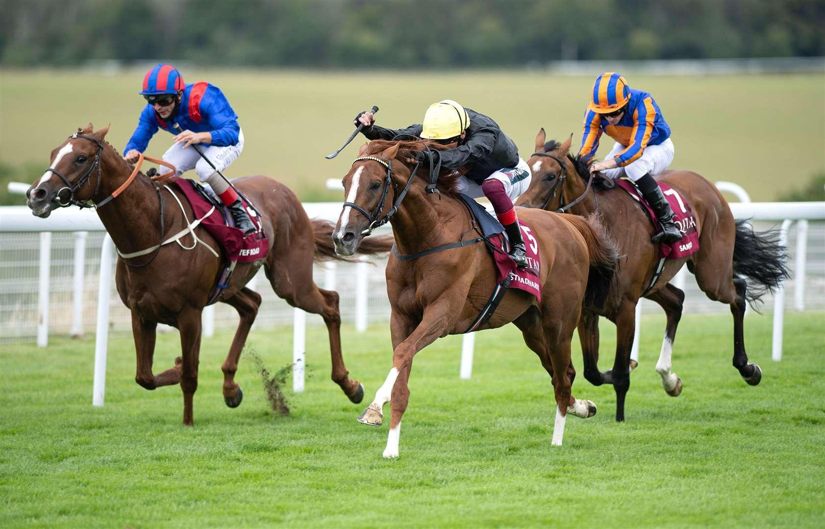 Stradivarius ( Frankie Dettori,centre) wins the Al Shaqab Goodwood Cup from Nayef Road (left) and Santiago.Glorious Goodwood28.7.20 Pic: Edward Whitaker/ Racing Post. (39383779)