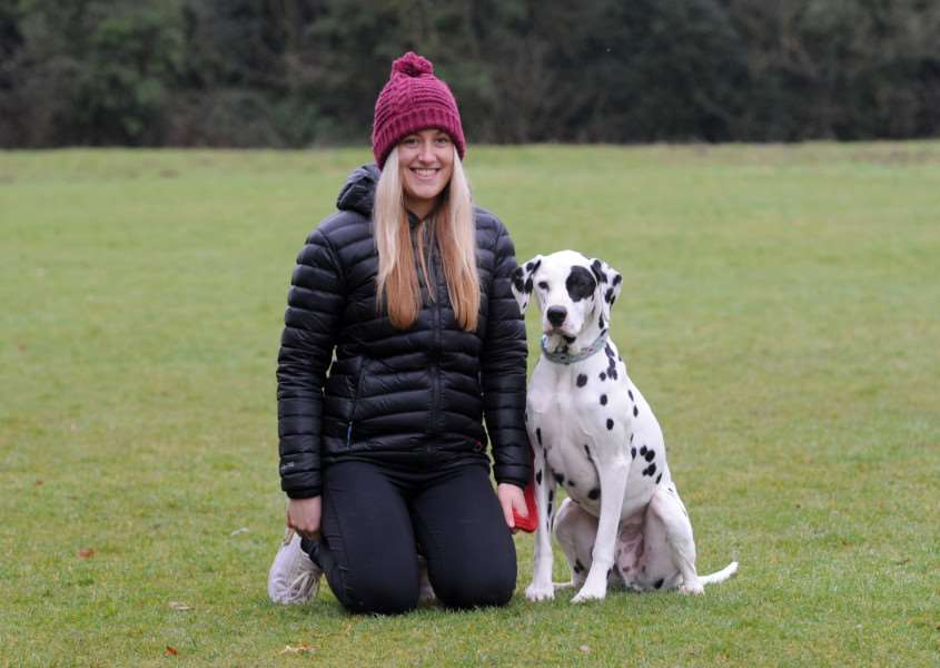 Paws in the Park winner photo at St Nicholas Hospice. ''Pictured: Amy Brett with Louie the Dalmation ''''PICTURE: Mecha Morton
