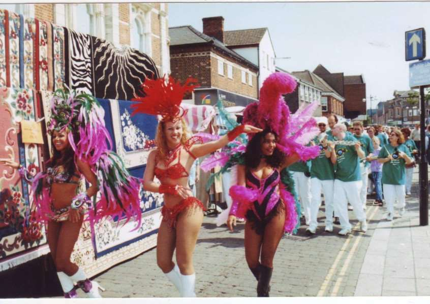Haverhill High Street becomes Rio Carnival for the day in this photo, but when was it taken and what was it all about? ANL-160508-143455001