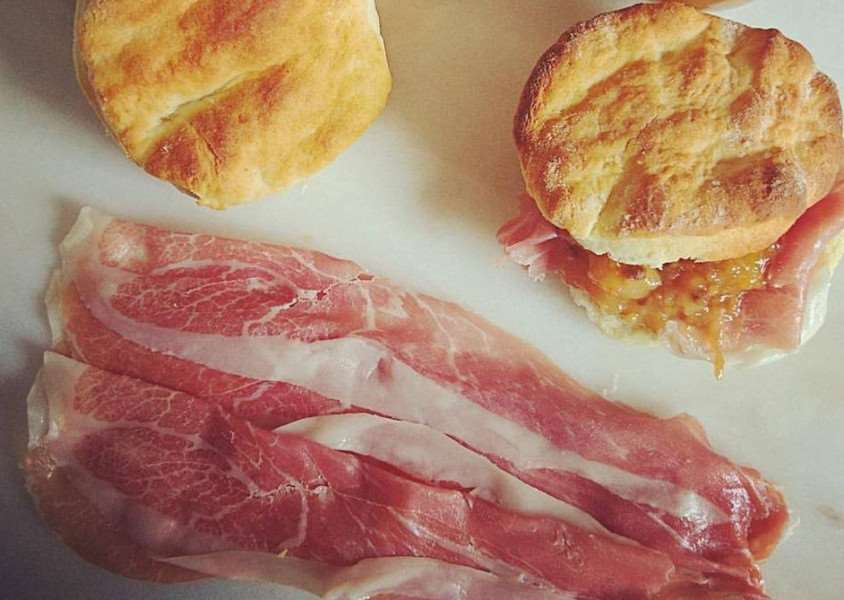 Ham stuffed biscuits with an easy peach & nectarine mostarda
