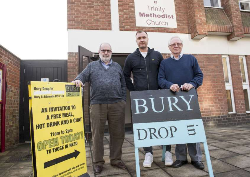 Bury Drop In, Trinity Methodist Church, Brentgovel St Bury St Edmunds'St Eds/Forest Heath rough sleepers support officer Rhys Walters'with Mike Coleman Chairman and David Bennett CEO'Picture Mark Westley