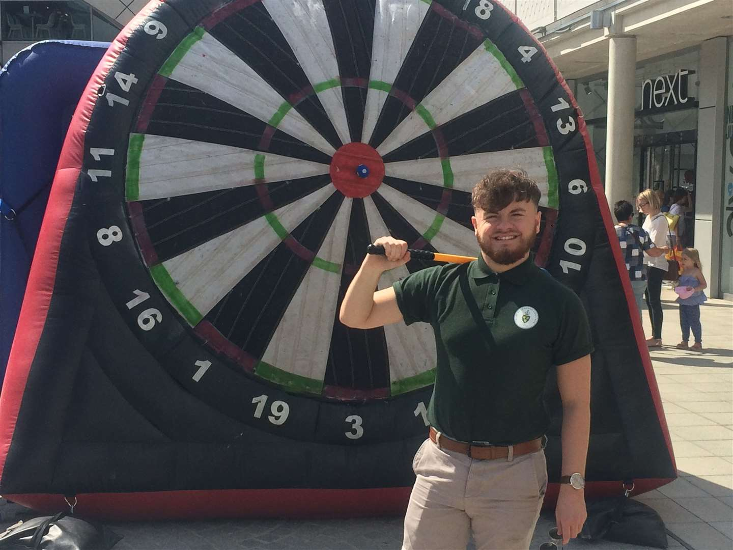 Bury Free Press advertising sales executive and Ipswich Town columnist Joseph Sadler trying his luck at the golf darts board (14659659)