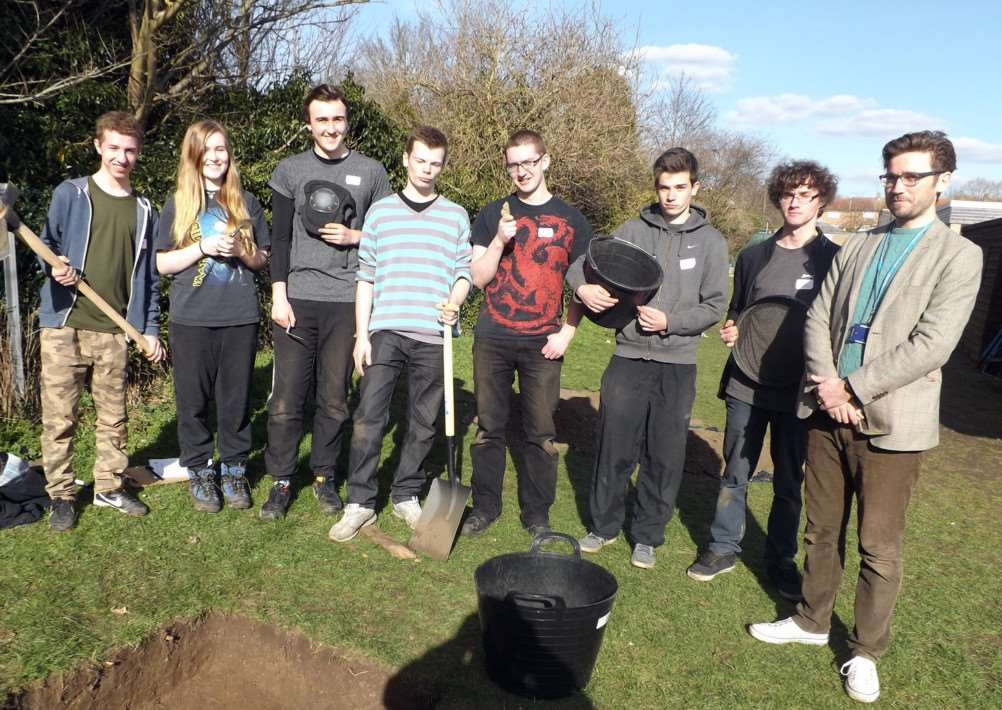 A Level archeology students from Ormiston Academy and head of humanities David Grocott at the dig in Long Melford. ANL-150104-160649001