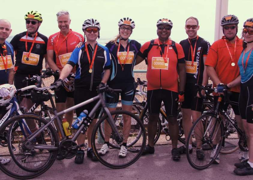 The Wardale Williams and Observatory the Opticians team after completing the London to Brighton Bike Ride.