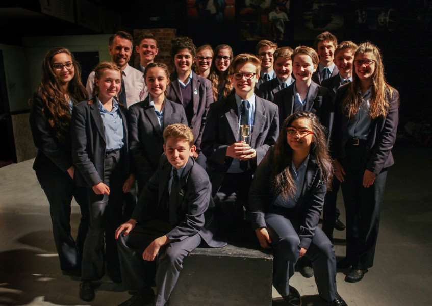 Staff and students at Samuel Ward Academy after winning the Best Junior Group at the 2017 Cambridge Theatre Festival.